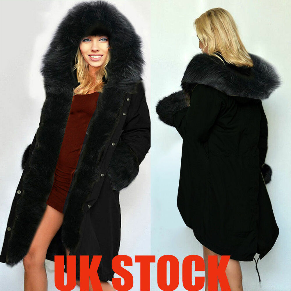 Women Ladies Fur Lining Black Parka Coat Winter Warm Long Jacket ...