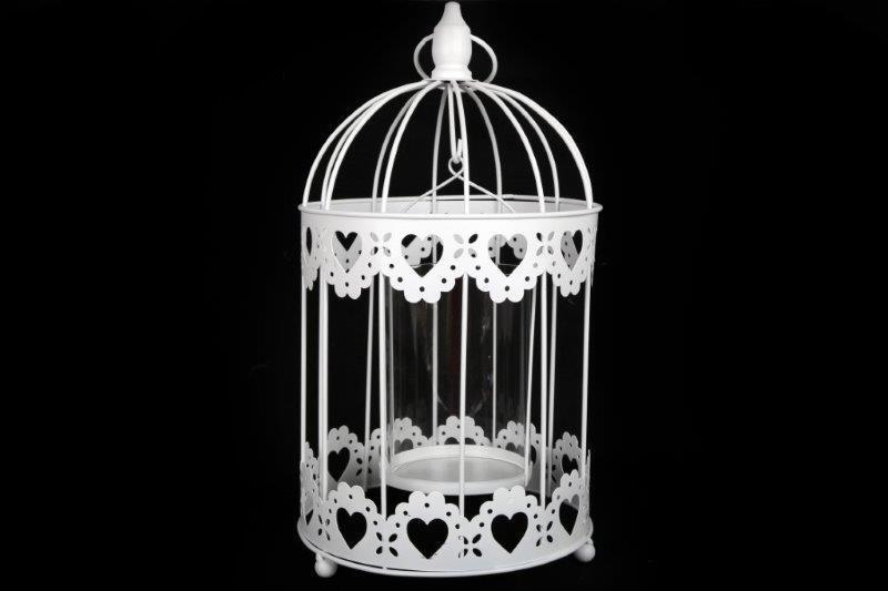 Vintage Chic White Round Metal Bird Cage Heart Candle