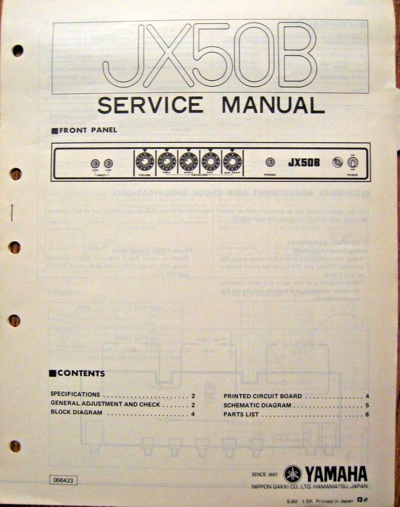 yamaha jx50b bass guitar amplifier original service manual schematics parts list ebay. Black Bedroom Furniture Sets. Home Design Ideas
