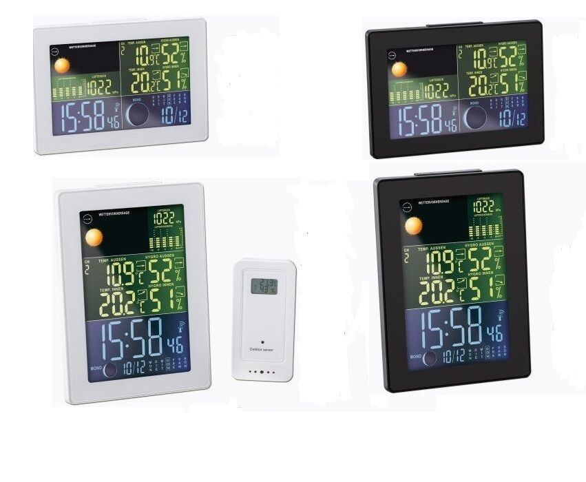 wetterstation funk farbe lcd innen au en thermometer feuchtigkeit ebay. Black Bedroom Furniture Sets. Home Design Ideas