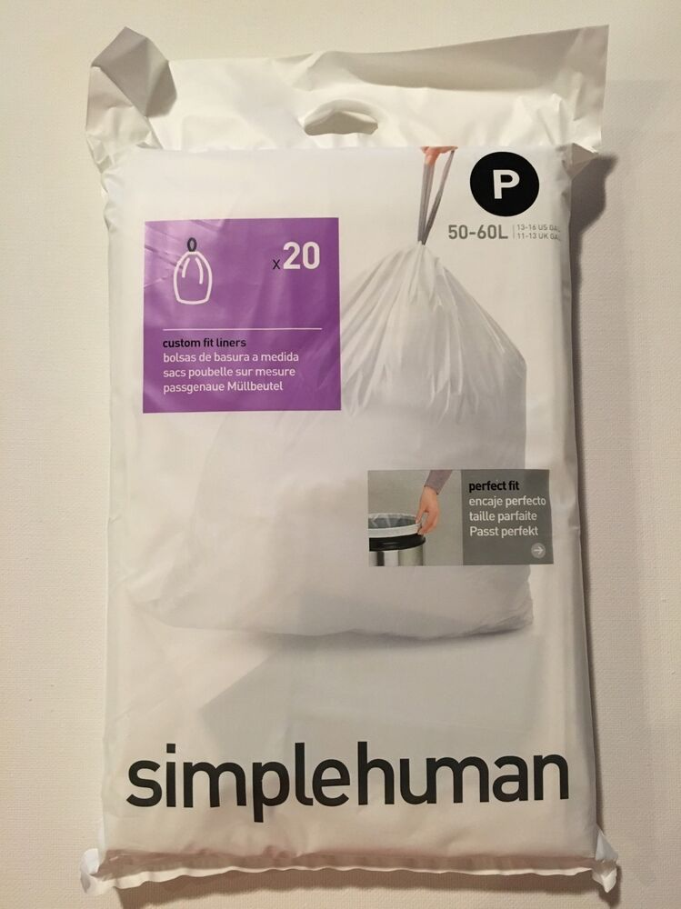 P Simplehuman Plastic Trash Can Liners P 13 16 Gallon 20