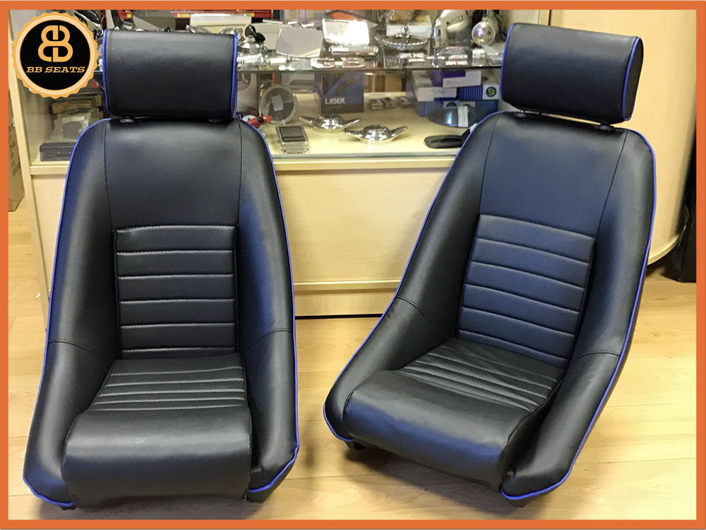 Vintage Auto Seats : Bb rs classic car black blue piping sports racing