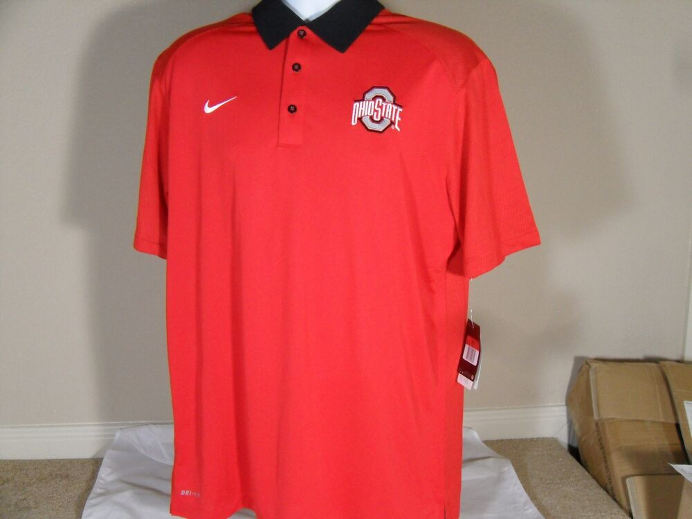 New mens nike ohio state buckeyes dri fit elite sideline for Ohio state golf shirt