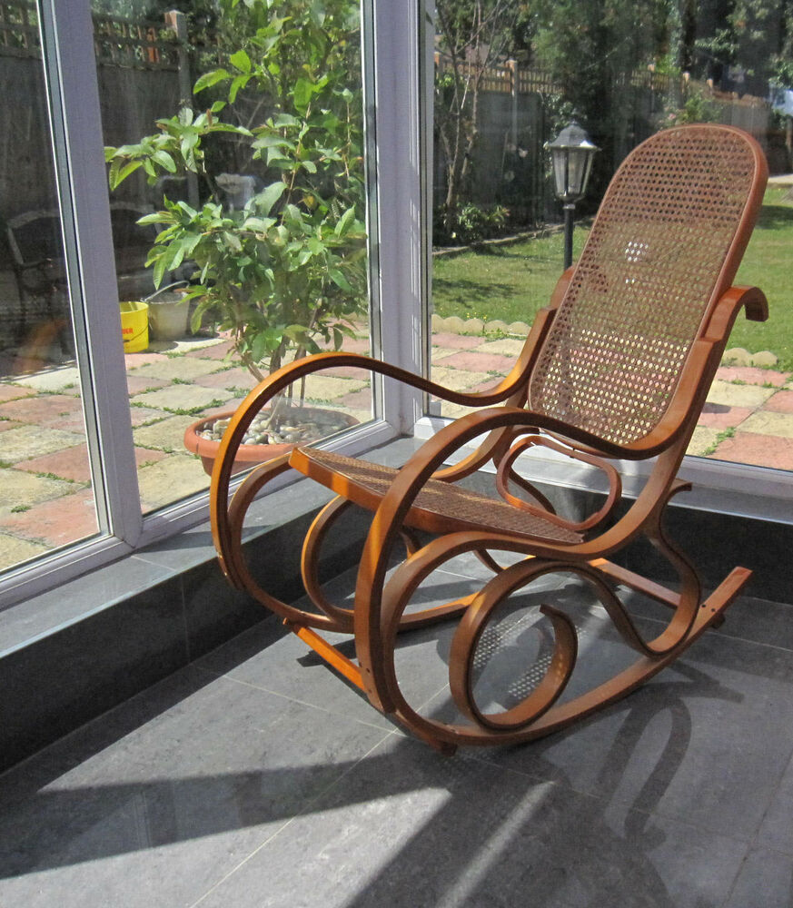 Bentwood Antique Style Rocking Chair Oak Frame W Natural