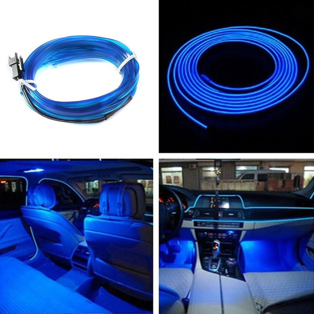 new 2m 12v blue led light glow el wire string strip rope tube car interior decor ebay. Black Bedroom Furniture Sets. Home Design Ideas