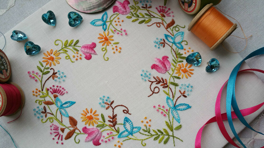 Transfered embroidery kit tranquility brights beautiful