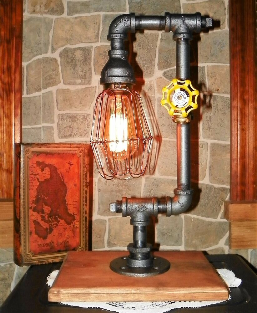 handcrafted industrial pipe lamp steampunk style desk table w bulb ebay. Black Bedroom Furniture Sets. Home Design Ideas