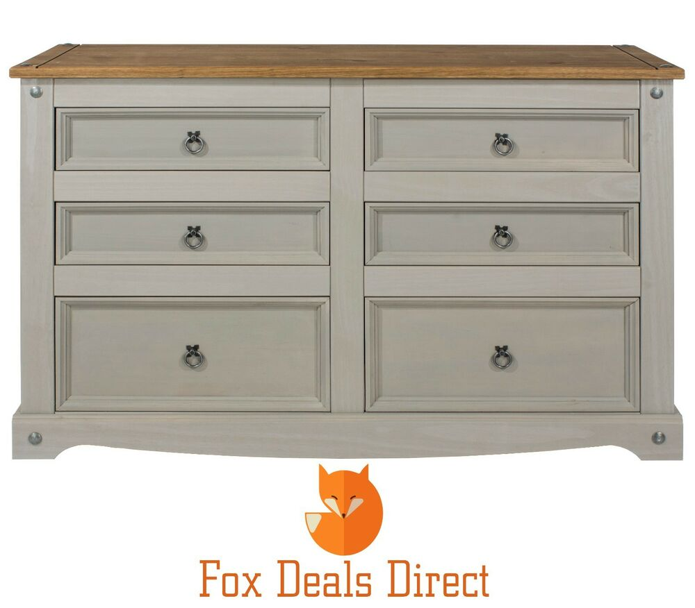 Chest of drawers corona grey washed 6 drawer wide pine for Bedroom furniture chest of drawers