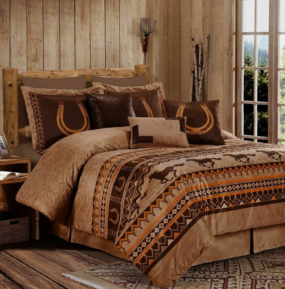 Chezmoi collection 7 piece southwestern wild horses for Horse bedroom decor