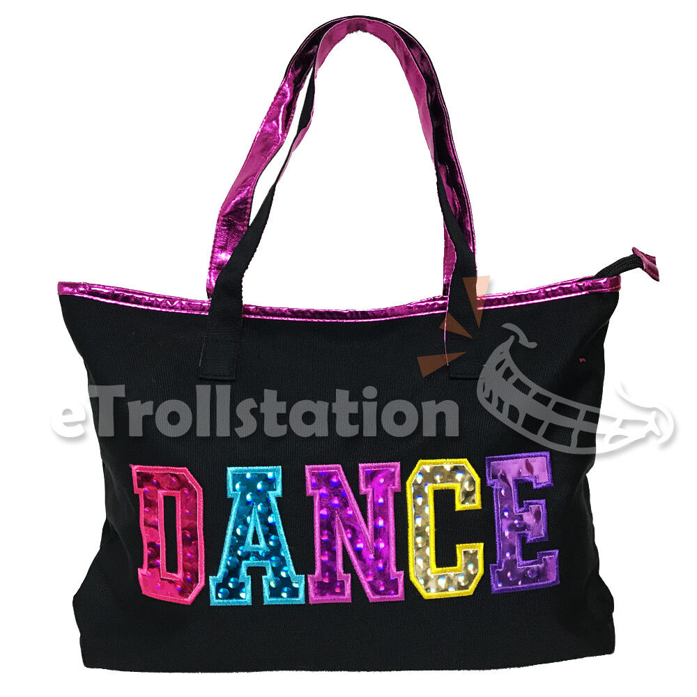 37c79af8ddf2 Details about Youth Girls Dance Swim Tote Bag Ballet Pack Multicolored Dance  Print Black Pink