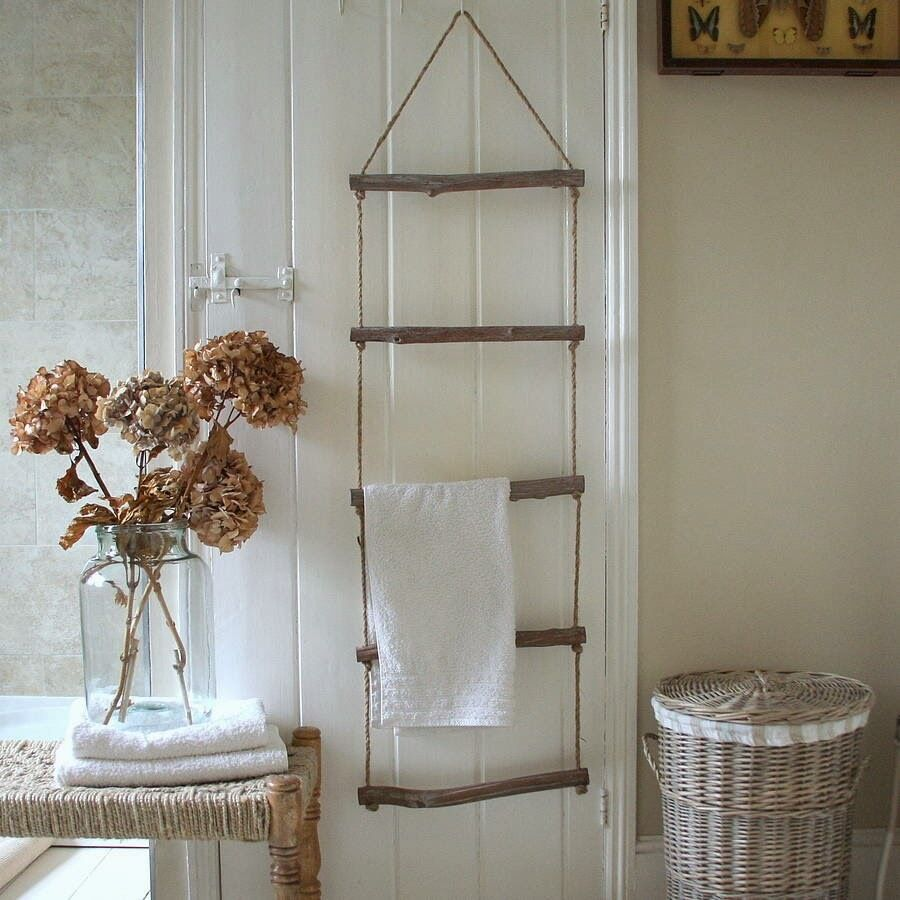 shabby chic wooden rope ladder towel rail rack bathroom bedroom vintage style ebay. Black Bedroom Furniture Sets. Home Design Ideas