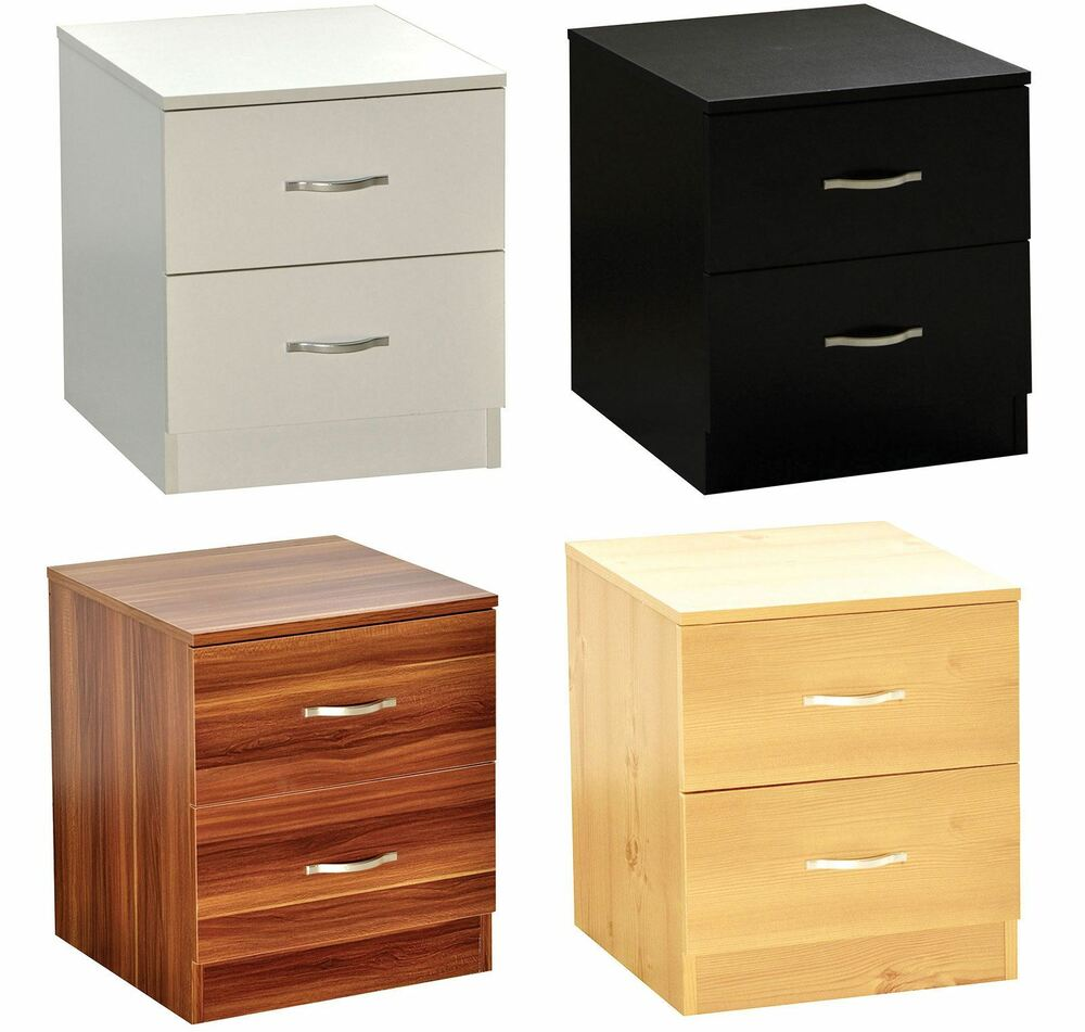 Riano bedside cabinet 2 drawer metal handles runners Handles for bedroom furniture