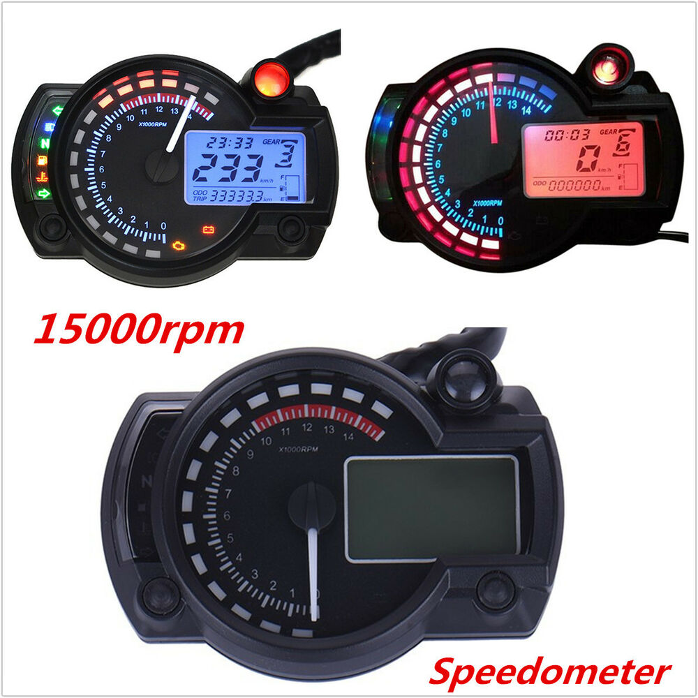 Electronic Speedometer Gauges : Rpm lcd digital dual color speedometer tachometer