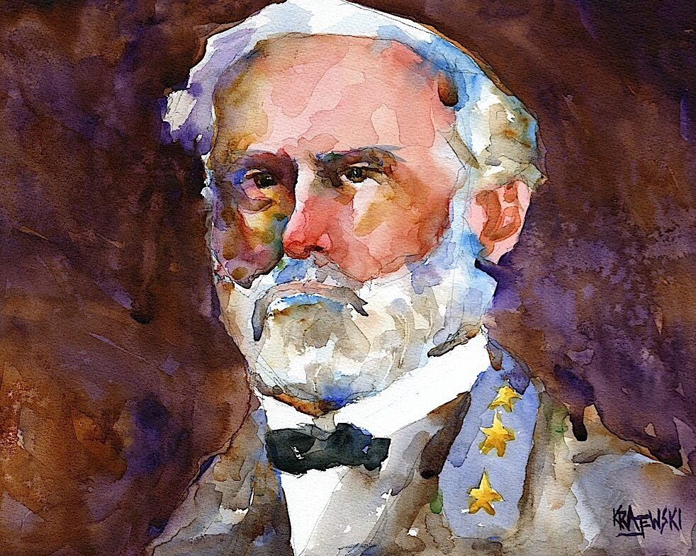 Robert e lee 11x14 signed art print from watercolor for Lee s painting