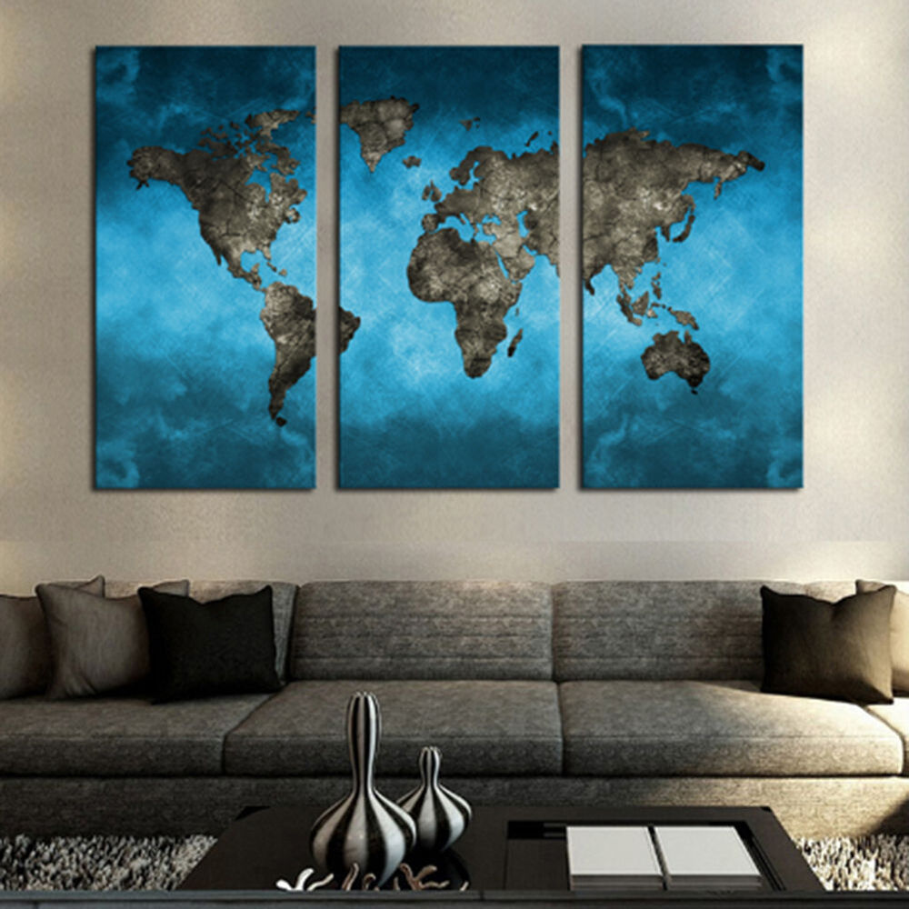 3 Panel Modern Wall Art Oil Painting Unframed Canvas Blue