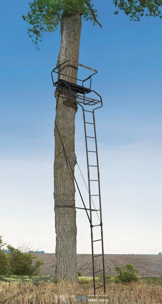 New 18 39 xl 2 person hunting ladder tree stand w seat for One person tree stand