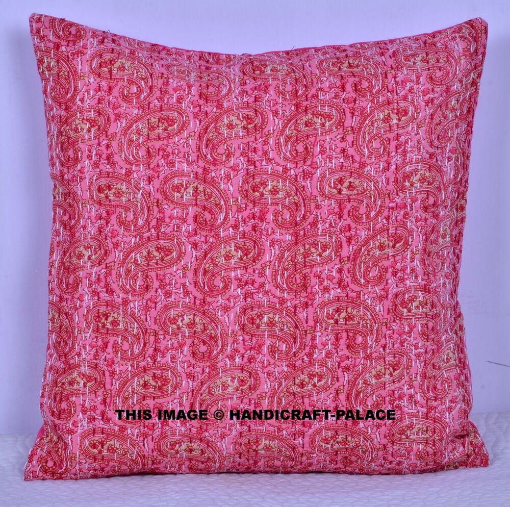 """16"""" PINK KANTHA DECORATIVE THROW COUCH CUSHION PILLOW"""