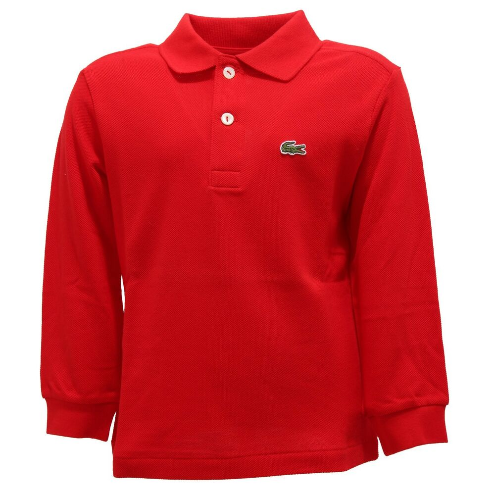 236ca6205f2 Details about 4261R polo bimbo LACOSTE ROUGE manica lunga rossa long sleeve  t-shirt kids