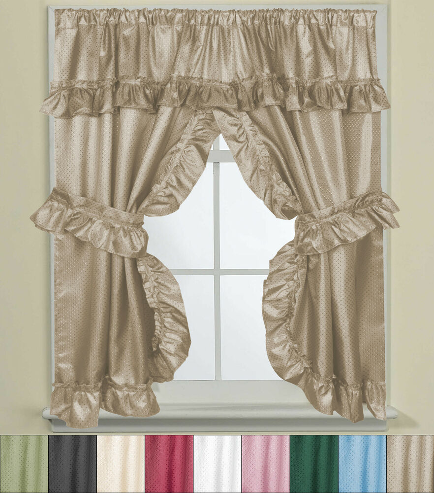 Bathroom window curtain set w tie backs ruffle valance lauren 70 x45 ebay Bathroom valances for windows