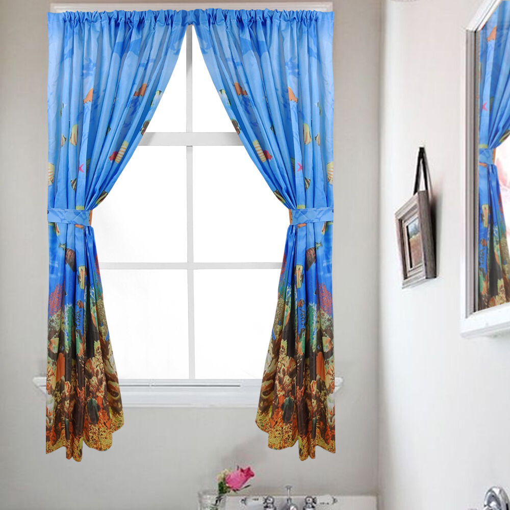 Fabric Bathroom Window Curtain Set Underwater Sea Paradise