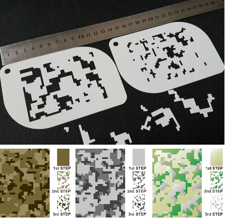 This is an image of Lively Digital Camo Stencil Printable