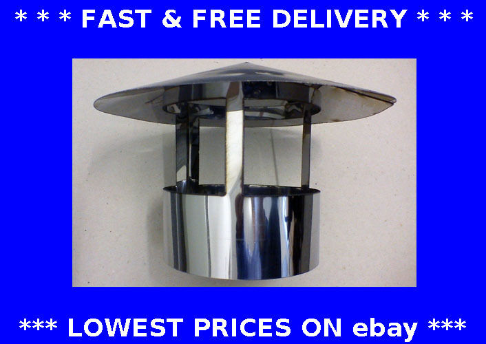 Roof Cowl Chimney Cap Ducting Rain Hat Hood Stainless