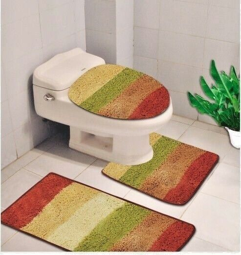 3 PIECE BATHROOM CONTOUR RUG AND TOILET LID COVER MAT SET