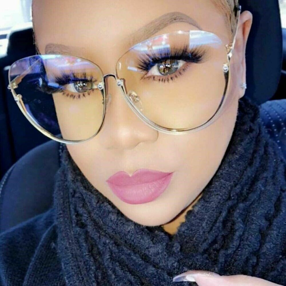 Oversize semi rimless vintage retro style clear lens sun glasses gold frame 753248492488 ebay What style glasses are in fashion 2015