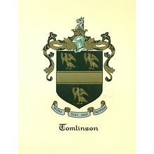 *Great Coat of Arms Tomlinson Family Crest genealogy, would look great framed!