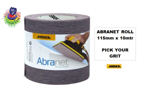 Mirka Abranet Abrasive Roll Sandpaper 115mm x10mtr *All Grits Available* ABRANET