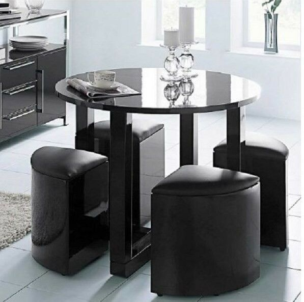 Round dining table stowaway stools black gloss modern for Stowaway dining table