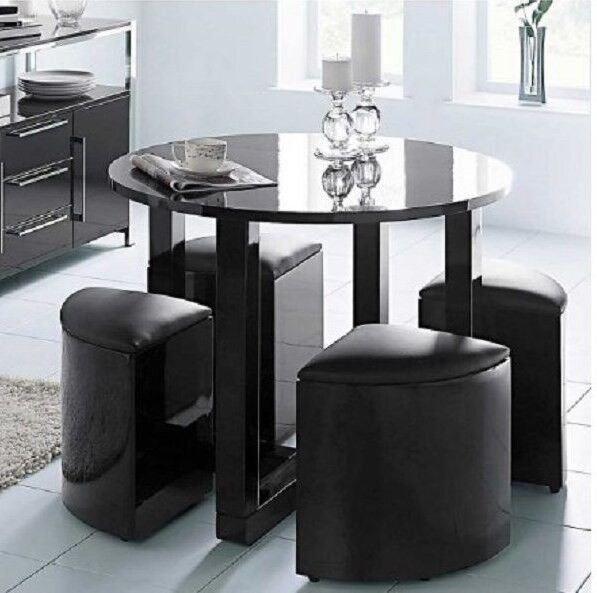 Round Dining Table Stowaway Stools Black Gloss Modern
