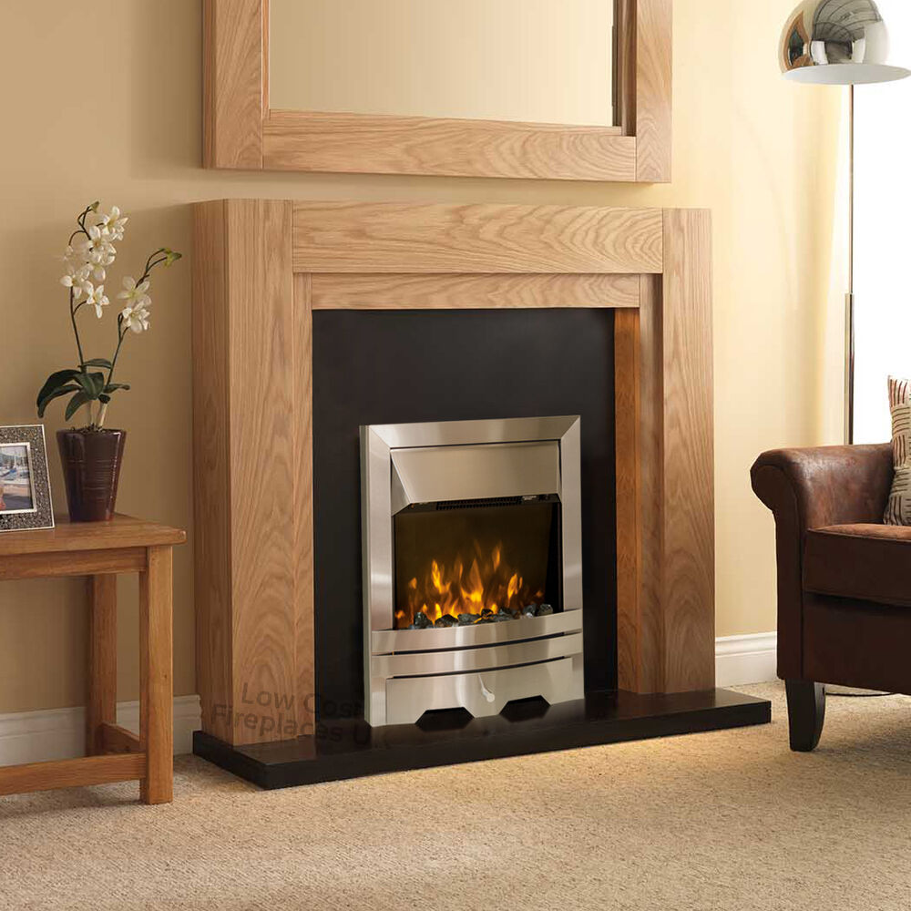 Wooden Fireplace: ELECTRIC OAK WOOD SURROUND SILVER BLACK MODERN