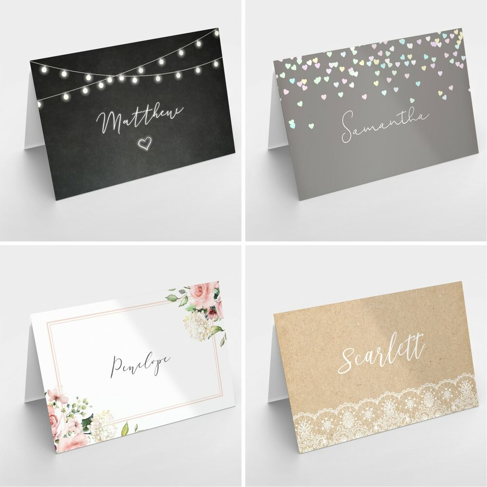 Personalised wedding table place name setting cards for Table place cards
