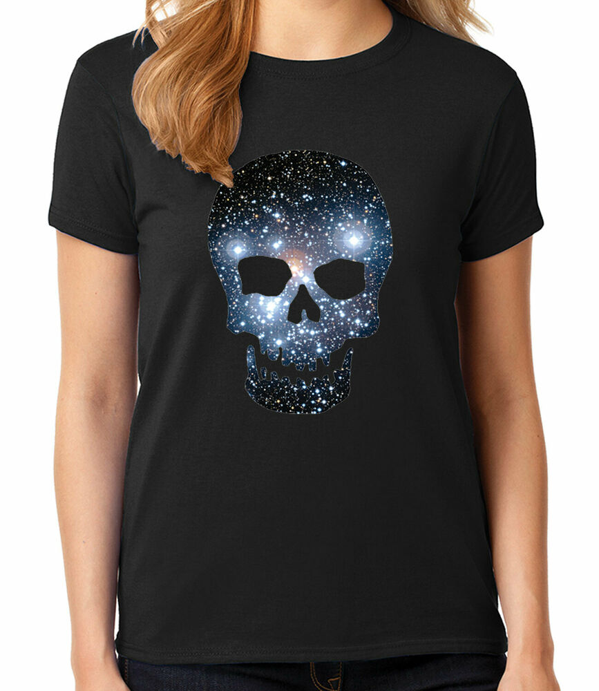 super cool space skull ladies t shirt new fashion skull women 39 s tee 1553c ebay. Black Bedroom Furniture Sets. Home Design Ideas