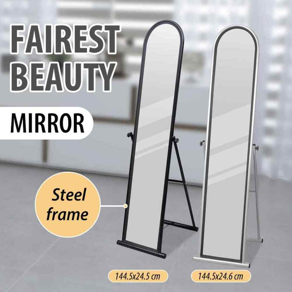 Black grey full length free standing dressing floor mirror for Gray full length mirror