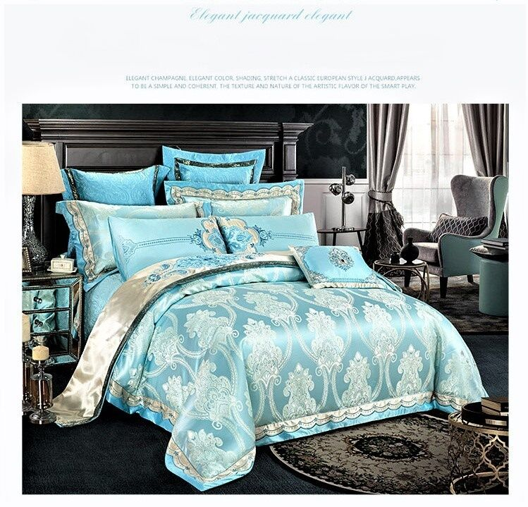 9pc Luxury Light Blue Silk Cotton Embroidered Queen King