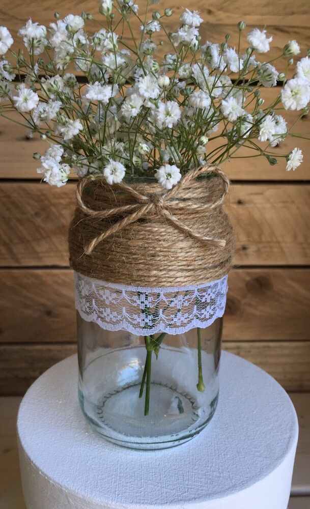 Glass jars vintage vases wedding centrepiece shabby