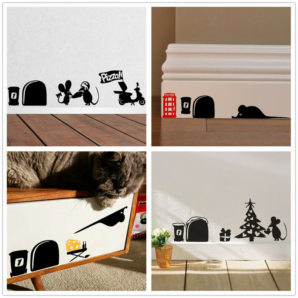 Cute mouse hole vinyl home decor wall sticker wall decals for Decoration hole