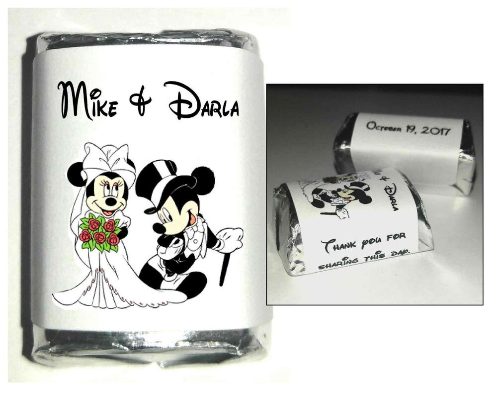 Personalized Disney Wedding Gifts: 120 DISNEY MICKEY AND MINNIE MOUSE WEDDING CANDY WRAPPERS