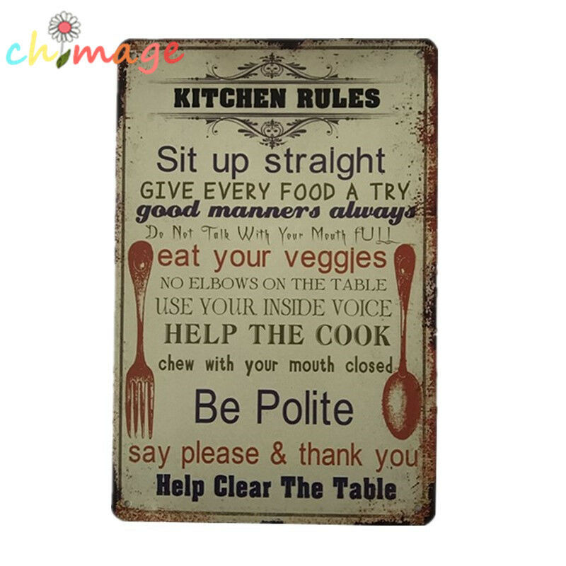 Kitchen Signs Ebay: Kitchen Rules Be Polite Vintage Tin Sign Bar Pub Home Wall