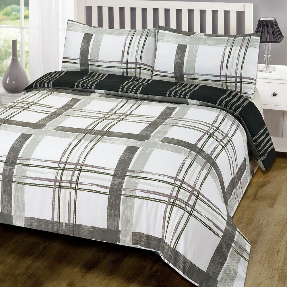 poole grau kariert doppelbett bezug set wendbare bettw sche schwarz leder wei ebay. Black Bedroom Furniture Sets. Home Design Ideas