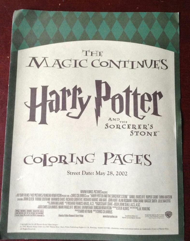 Details about coloring pages harry potter the sorcerers stone may 28 2002 magic continues