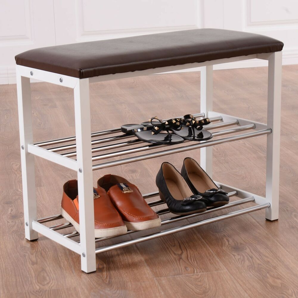 3 Tier Storage Shoe Rack With Seating Bench Shelf Entrance