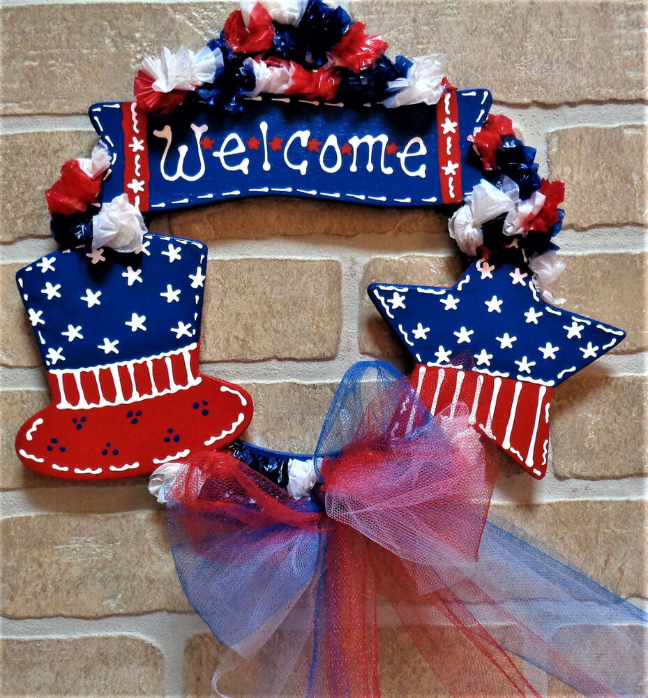 Americana Wall Decor Plaques Signs: AMERICANA WELCOME WREATH Wall Door Wood Sign Hanging