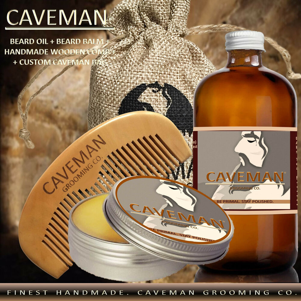 Hand crafted caveman beard oil conditioner beard balm for Handcrafted or hand crafted