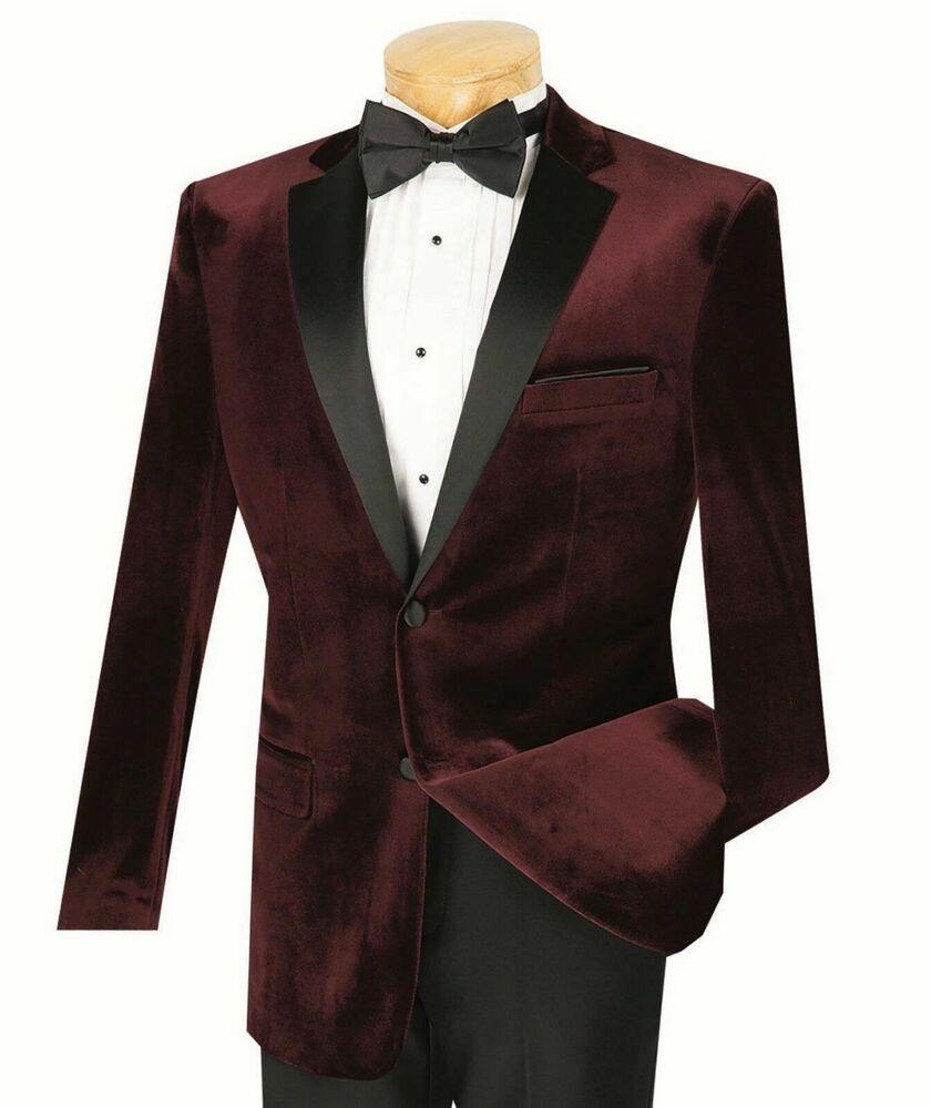 Vinci men 39 s burgundy velvet slim fit tuxedo suit w sateen for Black suit burgundy shirt