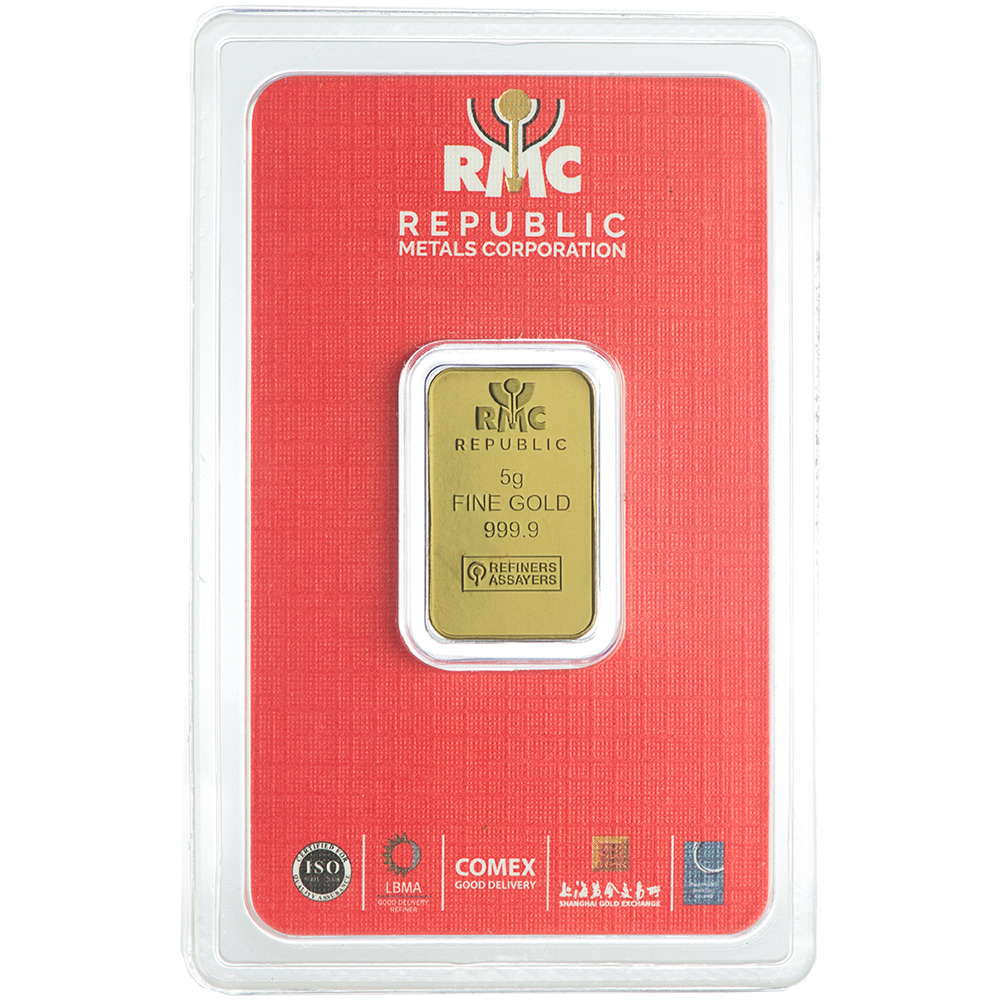 Ebay Bar: 5 Gram RMC Republic Metals .9999 Fine Gold Bar In Assay