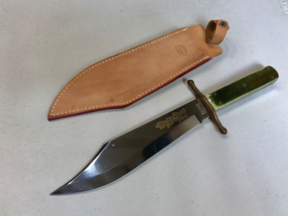 Vintage Ka Bar Hunting Bowie Knife Green Bone Handle