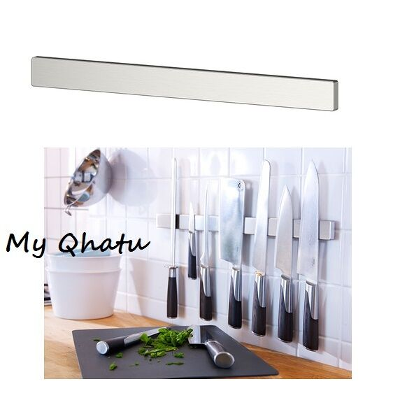 Ikea grundtal stainless steel magnetic kitchen knife wall for Ikea rack mount
